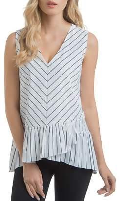 Lysse Sloane Striped Drawstring Ruffle-Hem Top