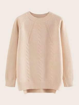 Shein High Low Split Hem Raglan Sleeve Sweater