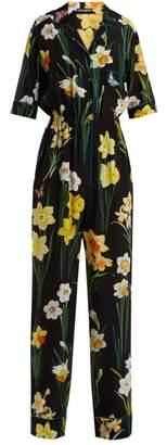 Dolce & Gabbana Daffodil Print Silk Jumpsuit - Womens - Black Multi