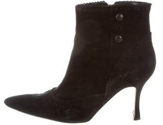 Manolo Blahnik Suede Brogue Booties