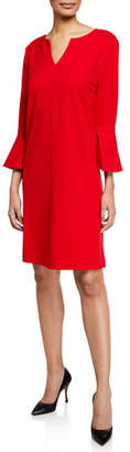 Joan Vass Slit-Neck 3/4 Bell Sleeve A-Line Crepe Dress