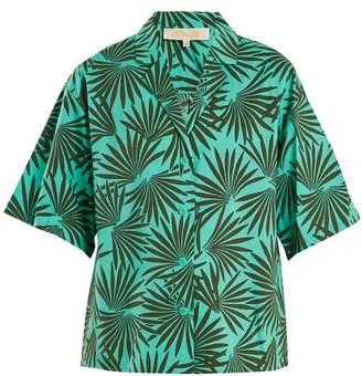 Diane von Furstenberg Short Sleeved Stretch Cotton Shirt - Womens - Green Multi