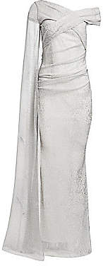 Talbot Runhof Women's Metallic Sequin Voile Gown