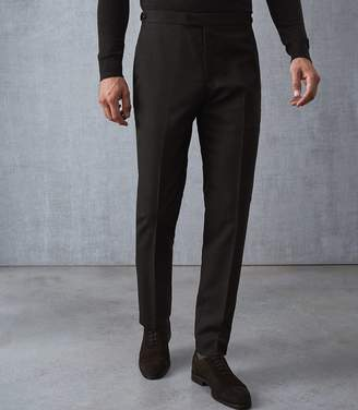Reiss Our last order date for Christmas has now passed CARUSO WOOL SLIM FIT TROUSERS Brown