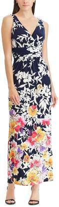 Chaps Petite Floral Surplice Maxi Dress