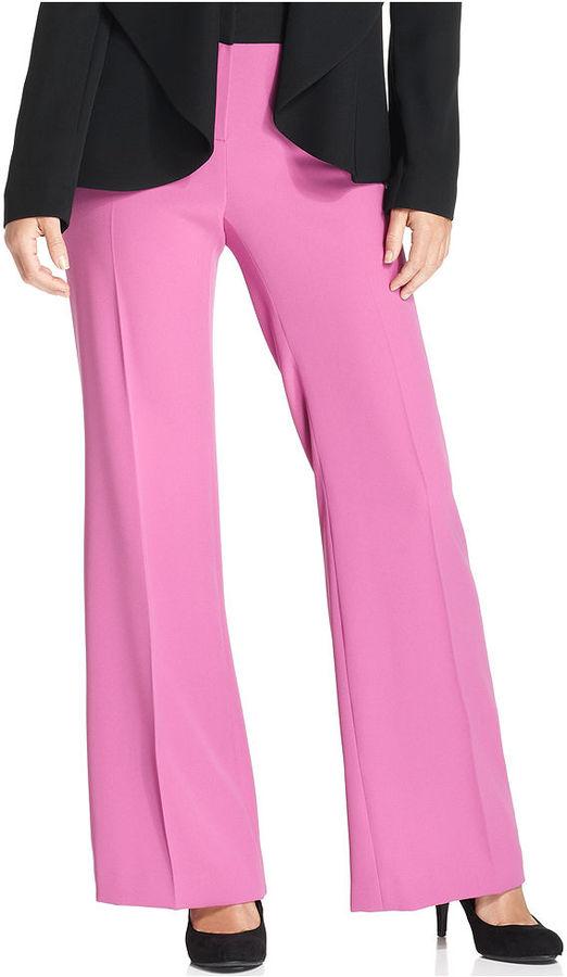 Nine West Pants, Modern-Fit Wide-Leg Contrast-Waistband