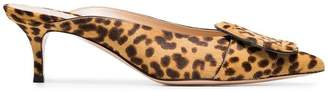 Gianvito Rossi yellow and brown ruby 55 leopard haircalf mules