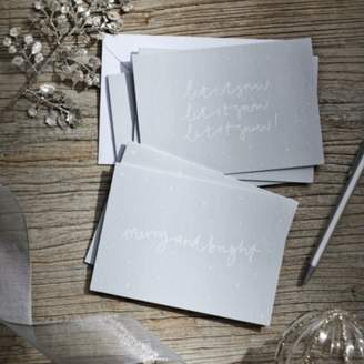 The White Company Merry & Bright, Let It Snow Christmas Card Duo - Set of 6, Silver, One Size