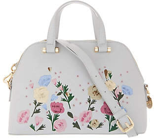 Studio 33 Small Dome Satchel with FloralEmbroidery