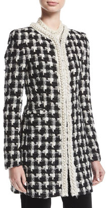 Alice + Olivia Andreas Mid-Length Collarless Tweed Jacket w/ Pearlescent Trim $895 thestylecure.com