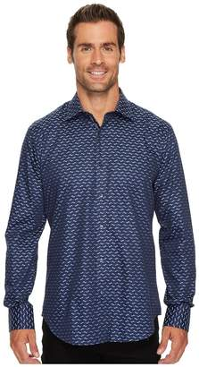 Bugatchi Long Sleeve Shaped Fit Point Collar Shirt Men's Long Sleeve Button Up