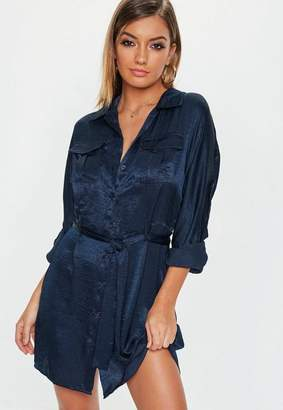 Missguided Navy Tie Waist Utility Satin Shirt Dress