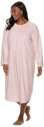 Croft & Barrow Plus Size Pintuck Velour Nightgown