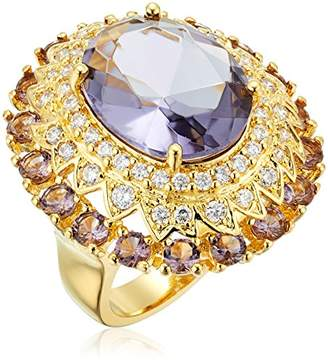 18k Yellow Gold Over Fine Silver Plated Bronze Amethyst Colored Glass and White Cubic Zirconia Cocktail Ring