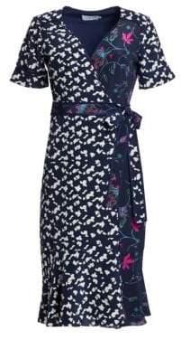 Tanya Taylor Luisa Mixed Print Silk Wrap Dress