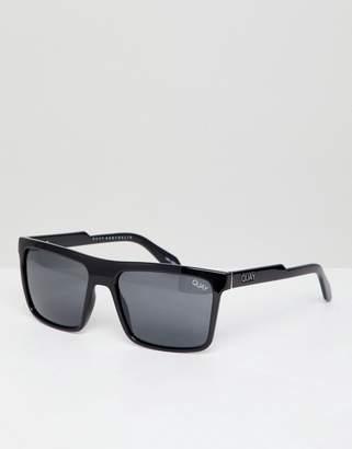 Quay Let It Run Square Sunglasses In Black
