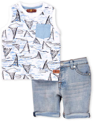 7 For All Mankind Infant Boys) Two-Piece Shark Tanks 7 Shorts Set