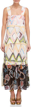 Save The Queen Printed Sleeveless Maxi Dress