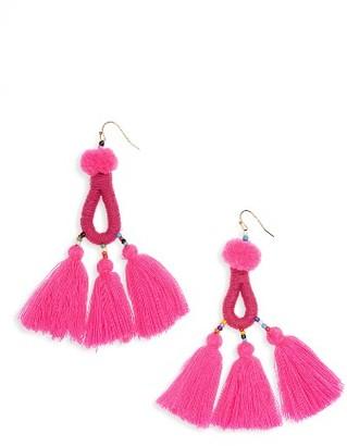 Women's Panacea Pompom Tassel Drop Earrings $32 thestylecure.com