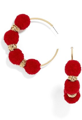 Women's Baublebar Curacao Pompom Hoop Earrings $32 thestylecure.com