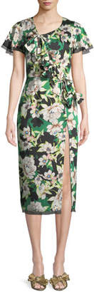 Le Superbe Gardenias Nights Printed Bow Dress