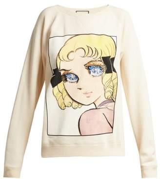 Gucci Chie Hosokawa Print Cotton Sweatshirt - Womens - Ivory Multi