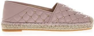Valentino Rose Nappa Leather Rockstud Spike Espadrilles