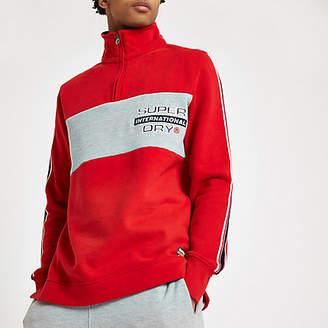 River Island Superdry red zip funnel neck sweatshirt