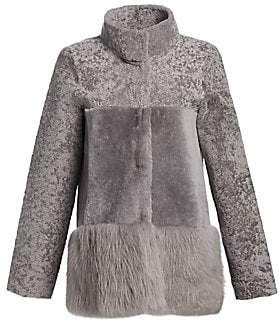 Michael Kors Women's Shearling Stand Collar Peplum Jacket
