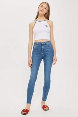 Topshop Mid Blue Raw Hem Jamie Jeans