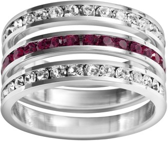 Swarovski Traditions Sterling Silver Crystal Eternity Ring Set