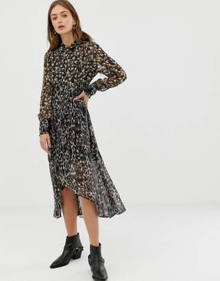 AllSaints Liza leopard midi dress