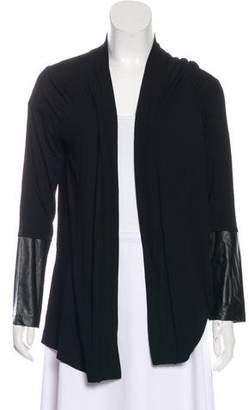 Neiman Marcus Faux Leather-Trimmed Cardigan w/ Tags