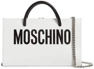 Moschino Mini Logo Printed Leather Shoulder Bag