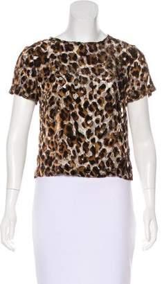 Alice + Olivia Semi-Sheer Leopard Print Top