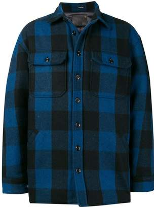 R 13 check shirt-jacket