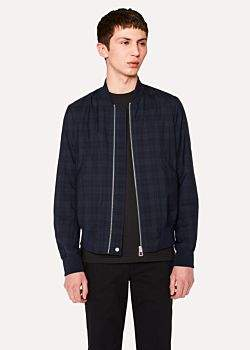 Paul Smith Men's Navy Wool Check Wadded Bomber Jacket