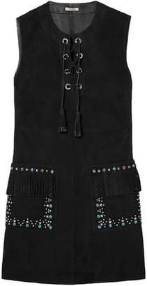 Miu Miu Lace-up Embellished Suede Mini Dress