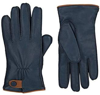 Barneys New York MEN'S LAMBSWOOL-LINED DEERSKIN GLOVES - BLUE SIZE 9