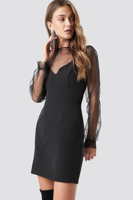 Na Kd Party V-Neck Bodycon Mini Dress Black