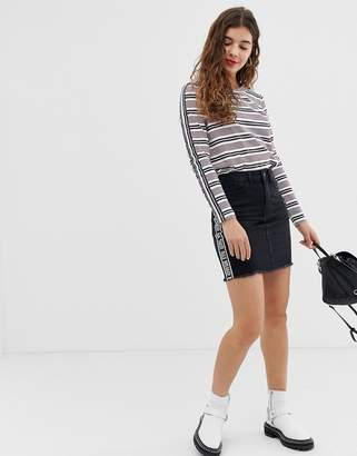 Noisy May slogan denim skirt in black