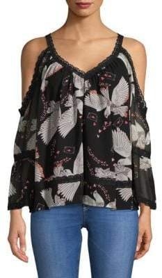 Rebecca Minkoff Deneuve Lace-Trimmed Cold-Shoulder Top