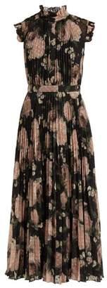Erdem Roisin Dutch Petal Print Pleated Midi Dress - Womens - Black Pink