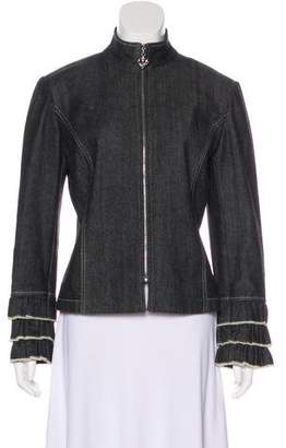 St. John Sport Denim Ruffle-Trimmed Jacket