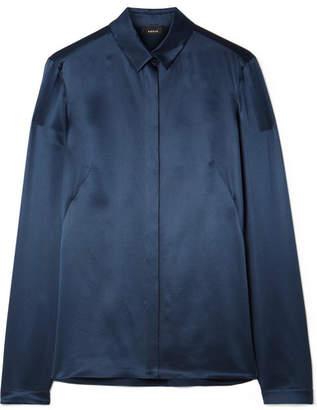 Akris Silk-satin Shirt - Navy