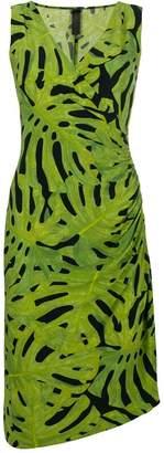 Norma Kamali leaf print fitted dress