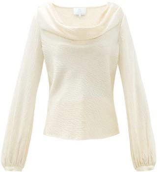 Rebecca De Ravenel Laura Cowl Neck Hammered Silk Blouse - Womens - Ivory