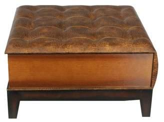 Benzara Grand Wood Leather Coffee Table Ottoman
