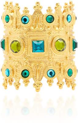 Ben-Amun Ben Amun Gold-Plated Brass Crystal Cuff Bracelet