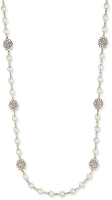 Charter Club Gold-Tone Crystal Filigree & Imitation Pearl Strand Necklace, Created for Macy's
